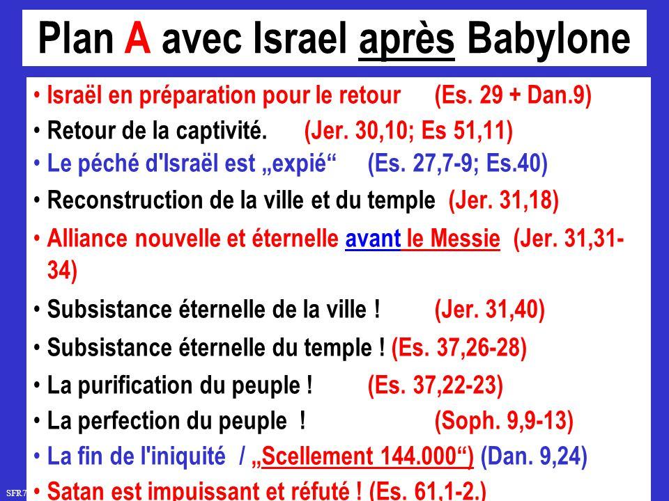SFR742 www.hopeandmore.at Plan A avec Israel après Babylone Israël en préparation pour le retour(Es. 29 + Dan.9) Retour de la captivité. (Jer. 30,10;