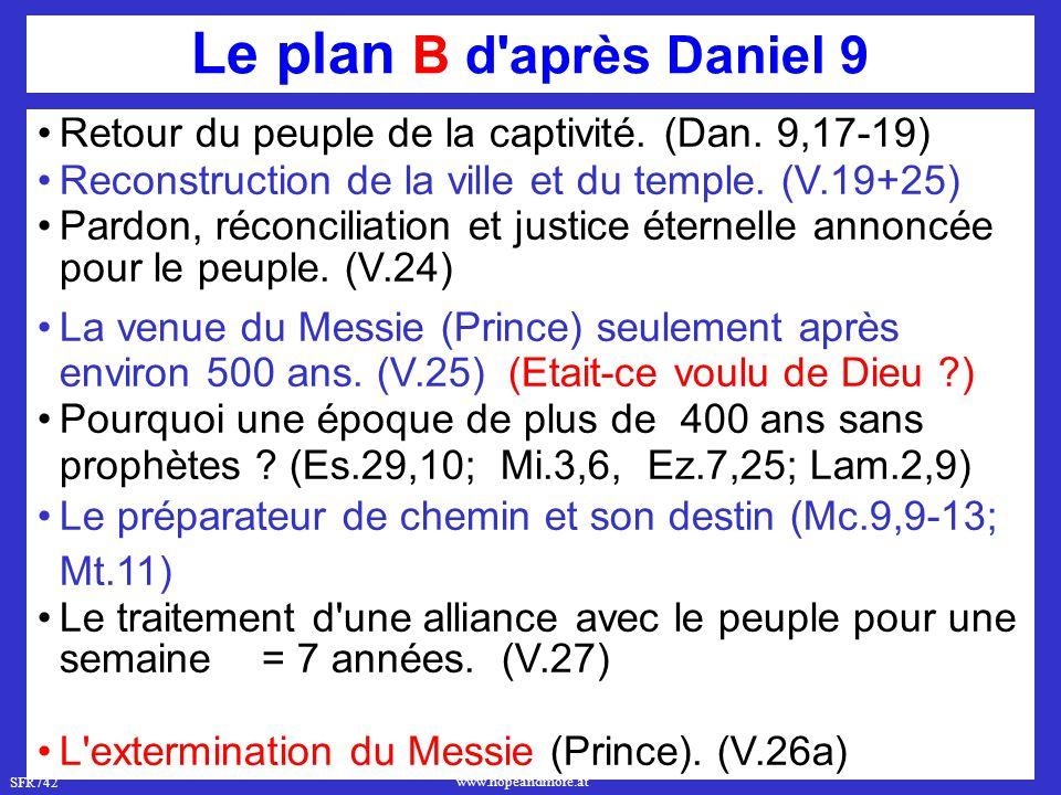 SFR742 www.hopeandmore.at Le plan B d'après Daniel 9 Retour du peuple de la captivité. (Dan. 9,17-19) Reconstruction de la ville et du temple. (V.19+2