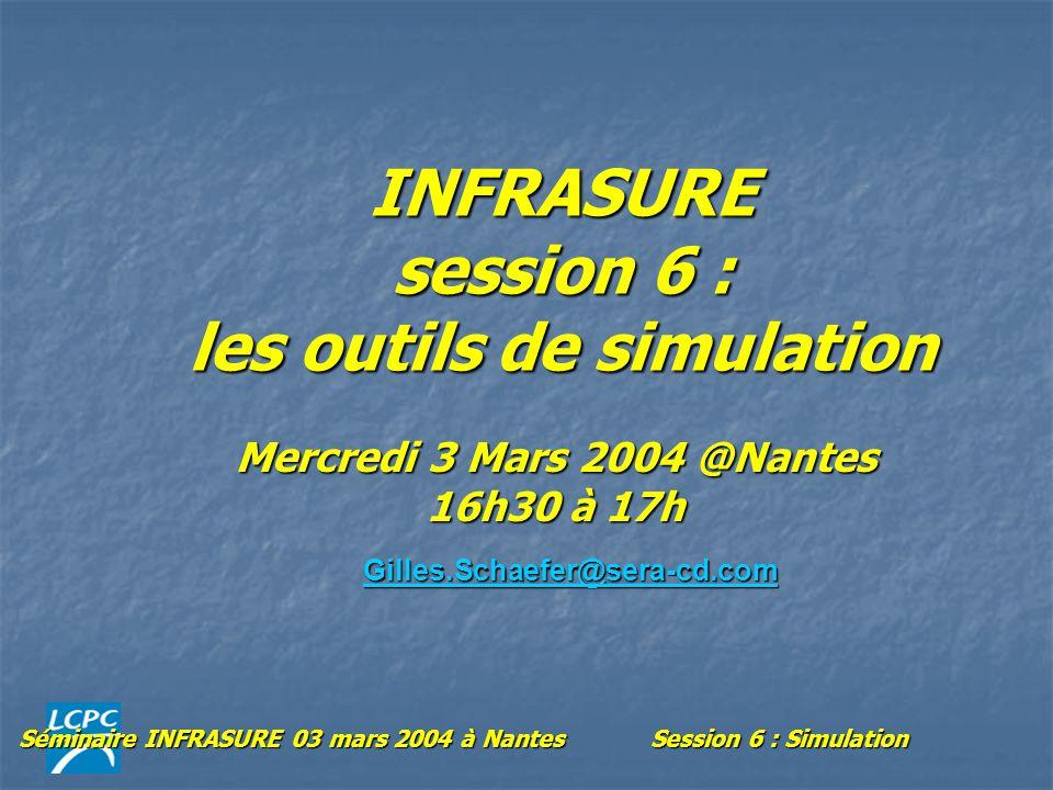 Séminaire INFRASURE 03 mars 2004 à NantesSession 6 : Simulation INFRASURE session 6 : les outils de simulation Mercredi 3 Mars 2004 @Nantes 16h30 à 17h Gilles.Schaefer@sera-cd.com