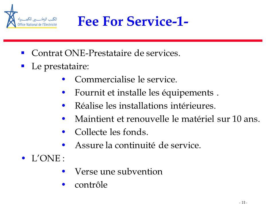 - 18 - Fee For Service-1-  Contrat ONE-Prestataire de services.  Le prestataire: Commercialise le service. Fournit et installe les équipements. Réal