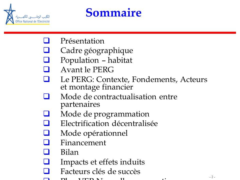 - 2 - Sommaire  Présentation  Cadre géographique  Population – habitat  Avant le PERG  Le PERG: Contexte, Fondements, Acteurs et montage financie
