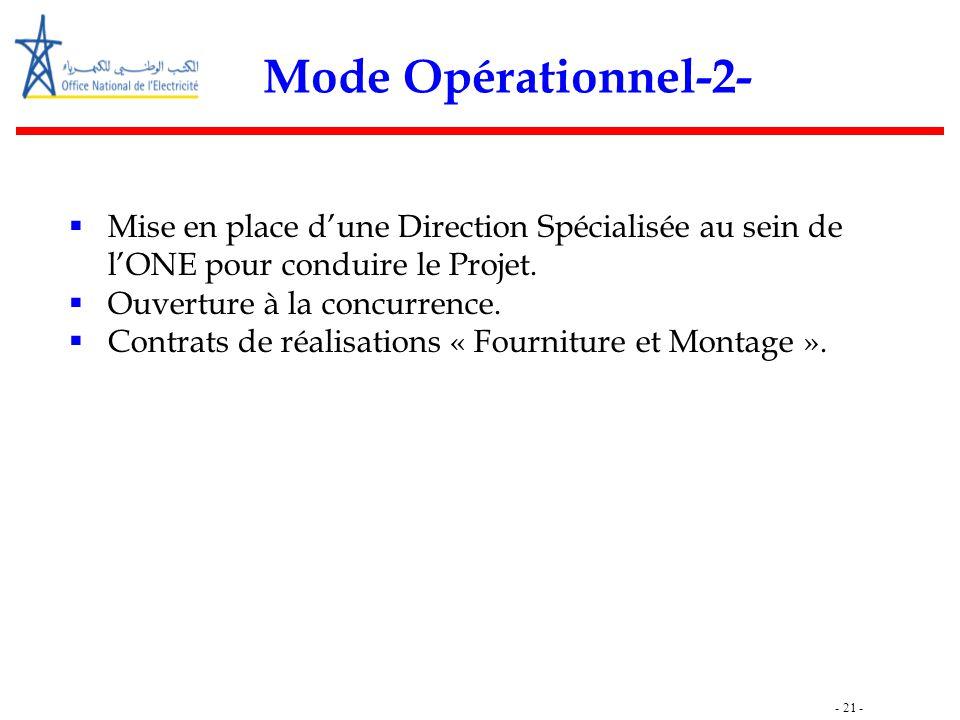 - 21 - Mode Opérationnel-2-  Mise en place d'une Direction Spécialisée au sein de l'ONE pour conduire le Projet.  Ouverture à la concurrence.  Cont