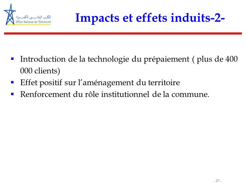 - 27 - Impacts et effets induits-2-  Introduction de la technologie du prépaiement ( plus de 400 000 clients)  Effet positif sur l'aménagement du te