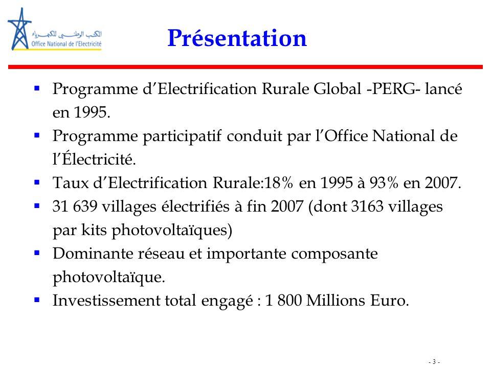 - 3 - Présentation  Programme d'Electrification Rurale Global -PERG- lancé en 1995.  Programme participatif conduit par l'Office National de l'Élect