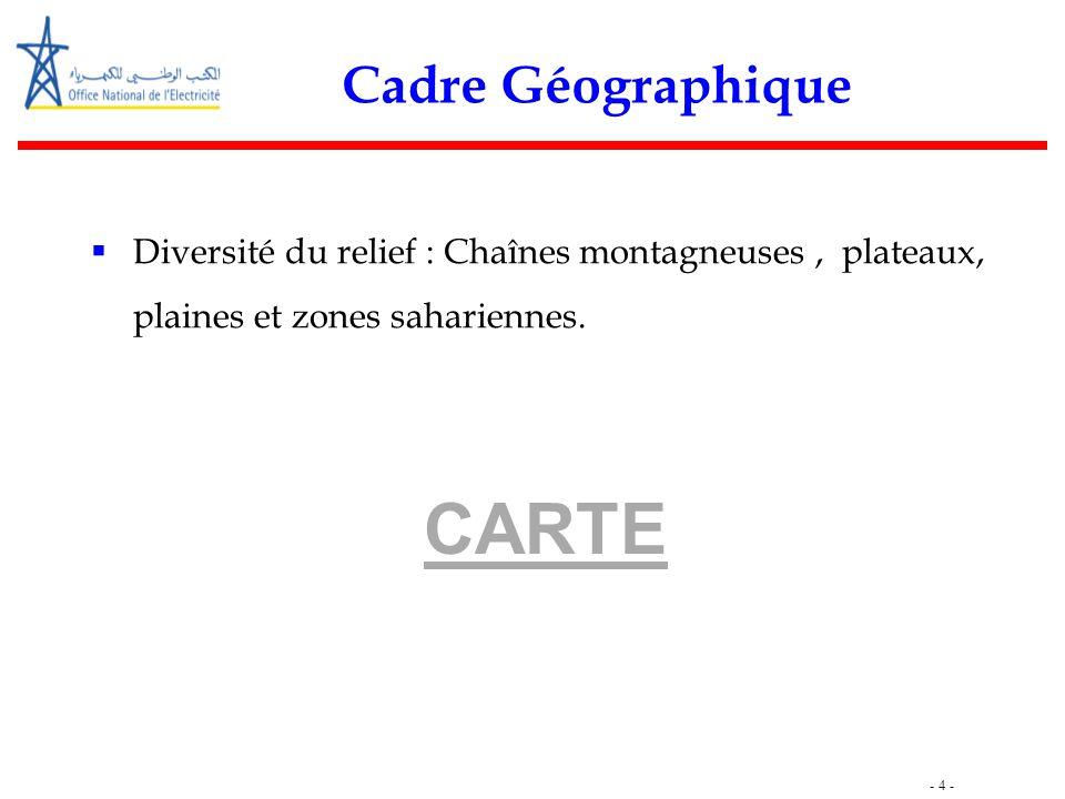 - 4 - Cadre Géographique  Diversité du relief : Chaînes montagneuses, plateaux, plaines et zones sahariennes. CARTE