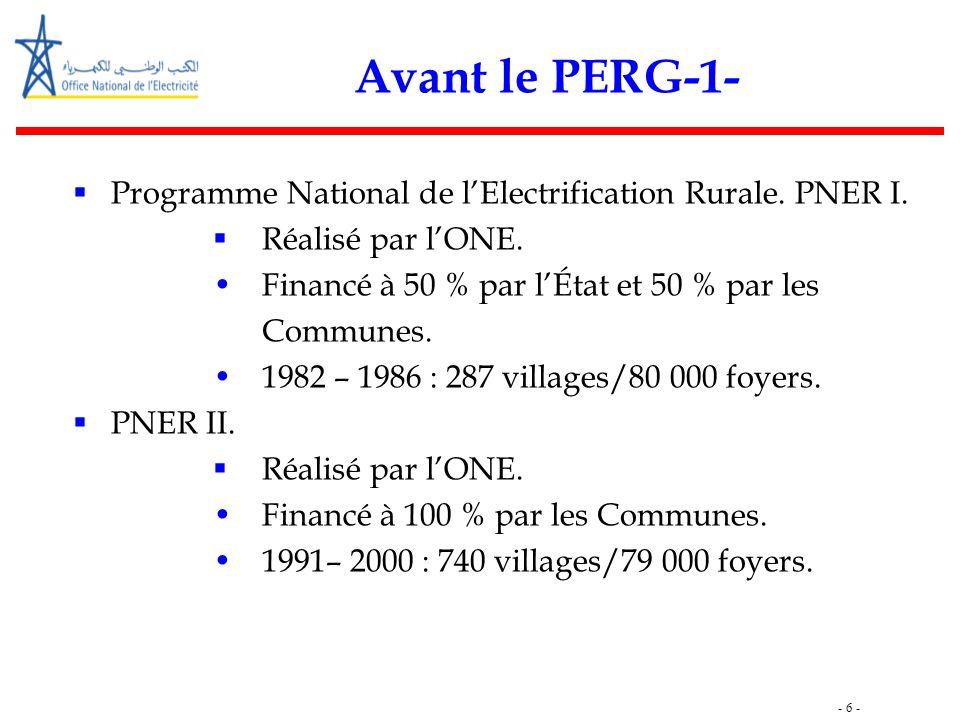 - 6 - Avant le PERG-1-  Programme National de l'Electrification Rurale. PNER I.  Réalisé par l'ONE. Financé à 50 % par l'État et 50 % par les Commun