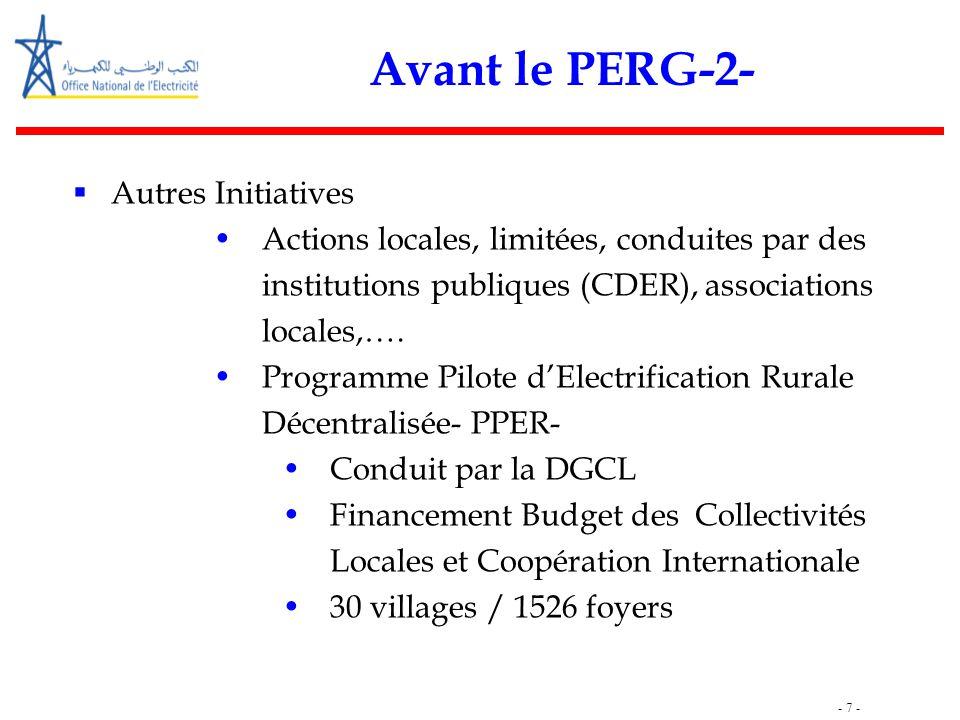 - 7 - Avant le PERG-2-  Autres Initiatives Actions locales, limitées, conduites par des institutions publiques (CDER), associations locales,…. Progra
