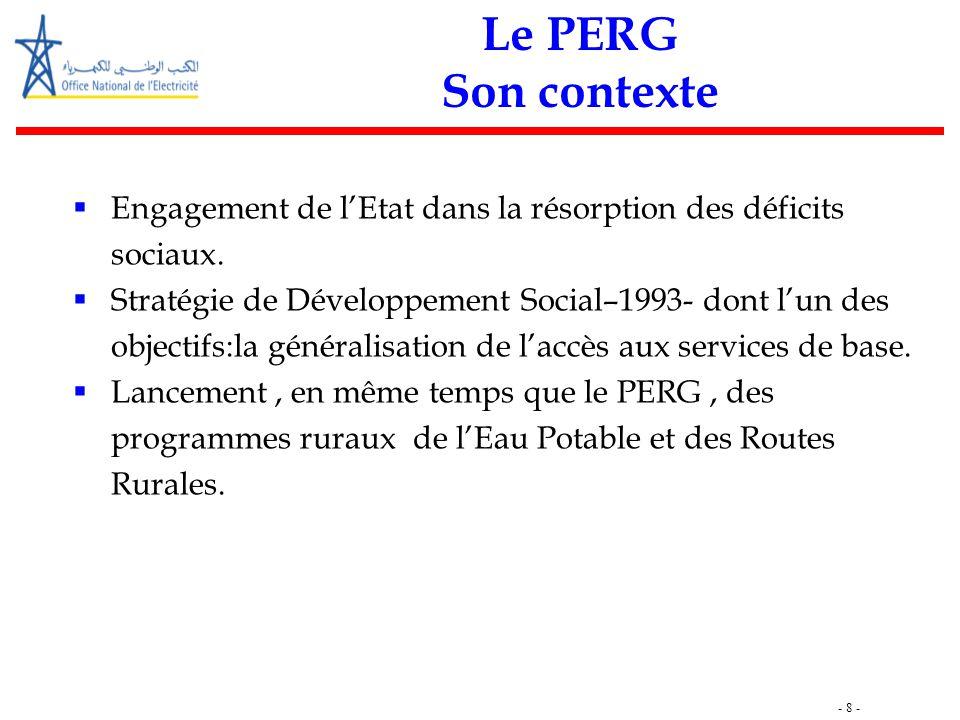 - 8 - Le PERG Son contexte  Engagement de l'Etat dans la résorption des déficits sociaux.  Stratégie de Développement Social–1993- dont l'un des obj