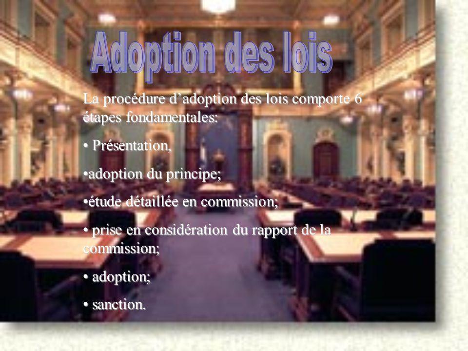 La procédure d'adoption des lois comporte 6 étapes fondamentales: Présentation, Présentation, adoption du principe;adoption du principe; étude détaillée en commission;étude détaillée en commission; prise en considération du rapport de la commission; prise en considération du rapport de la commission; adoption; adoption; sanction.