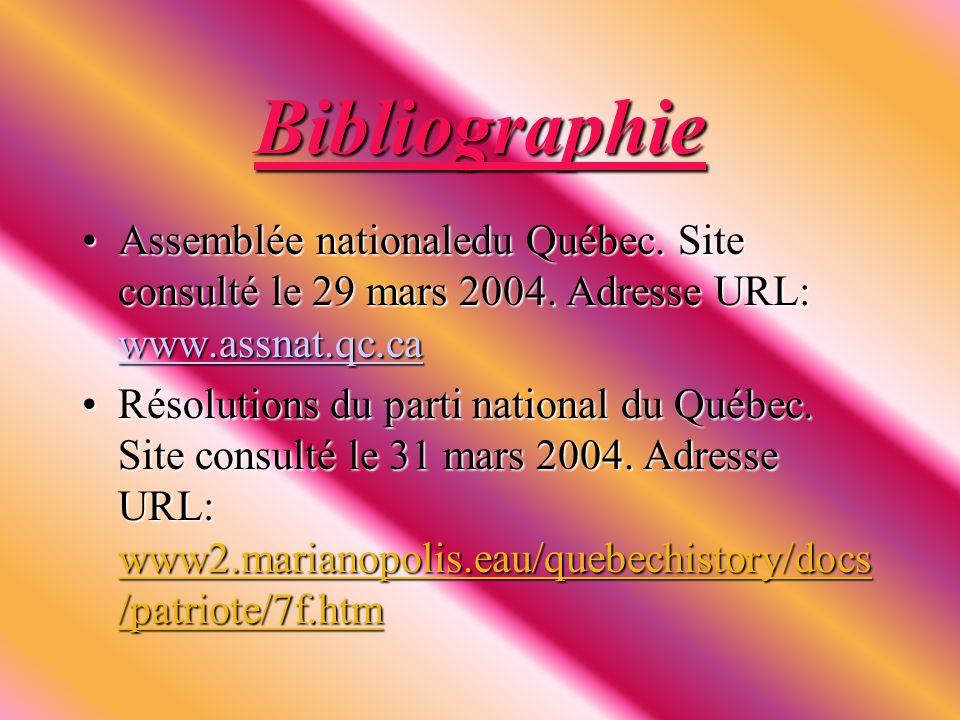 Bibliographie Assemblée nationaledu Québec. Site consulté le 29 mars 2004.