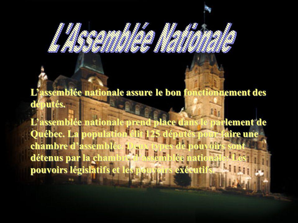 L'assemblée nationale assure le bon fonctionnement des députés.