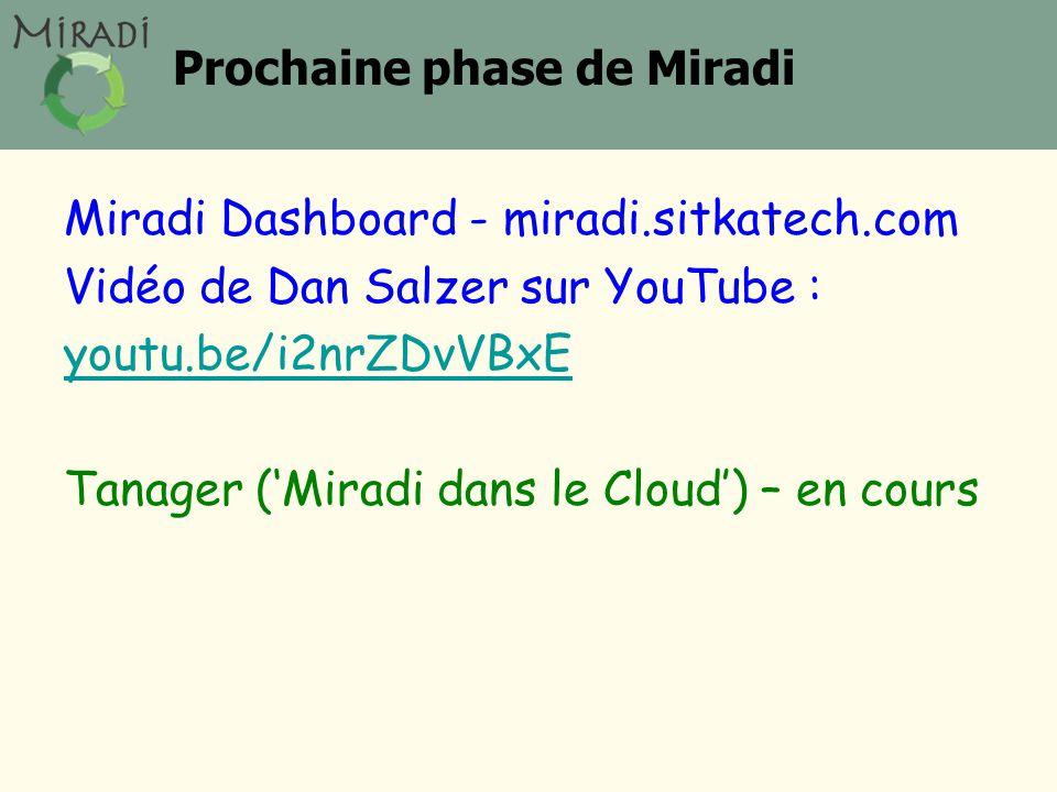 Prochaine phase de Miradi Miradi Dashboard - miradi.sitkatech.com Vidéo de Dan Salzer sur YouTube : youtu.be/i2nrZDvVBxE Tanager ('Miradi dans le Cloud') – en cours