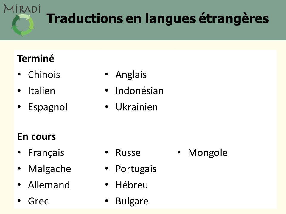 Traductions en langues étrangères Terminé Chinois Anglais Italien Indonésian Espagnol Ukrainien En cours Français Russe Mongole Malgache Portugais Allemand Hébreu Grec Bulgare