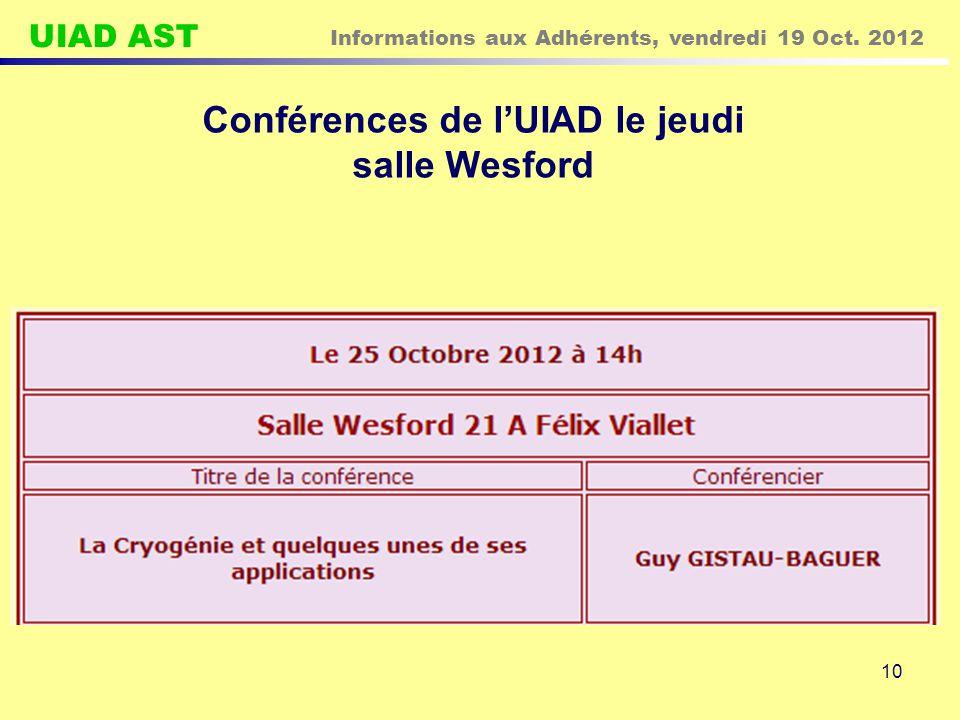UIAD AST Informations aux Adhérents, vendredi 19 Oct. 2012 10 Conférences de l'UIAD le jeudi salle Wesford