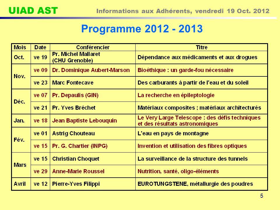UIAD AST Informations aux Adhérents, vendredi 19 Oct. 2012 5 Programme 2012 - 2013