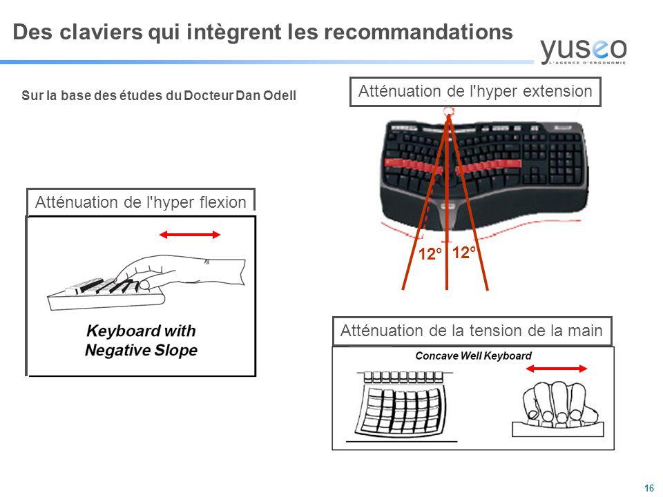 16 Des claviers qui intègrent les recommandations Sur la base des études du Docteur Dan Odell Atténuation de l hyper extension 12° Atténuation de l hyper flexion Atténuation de la tension de la main