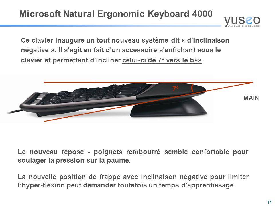 17 Ce clavier inaugure un tout nouveau système dit « d inclinaison négative ».