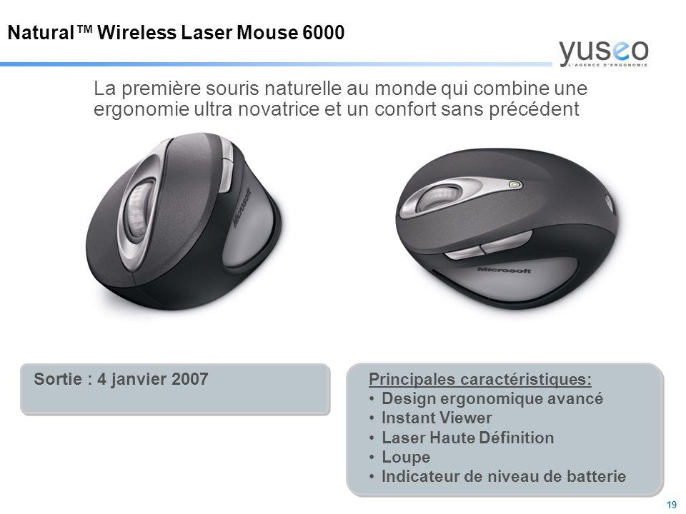 19 Natural™ Wireless Laser Mouse 6000 La première souris naturelle au monde qui combine une ergonomie ultra novatrice et un confort sans précédent Sortie : 4 janvier 2007 Principales caractéristiques: Design ergonomique avancé Instant Viewer Laser Haute Définition Loupe Indicateur de niveau de batterie