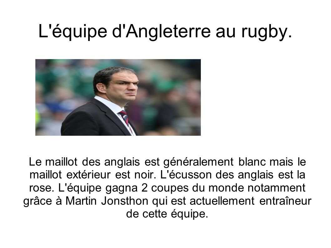L équipe d Angleterre au rugby.