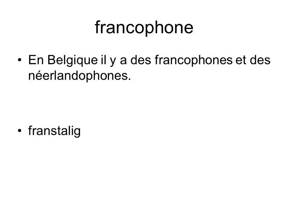 francophone En Belgique il y a des francophones et des néerlandophones. franstalig