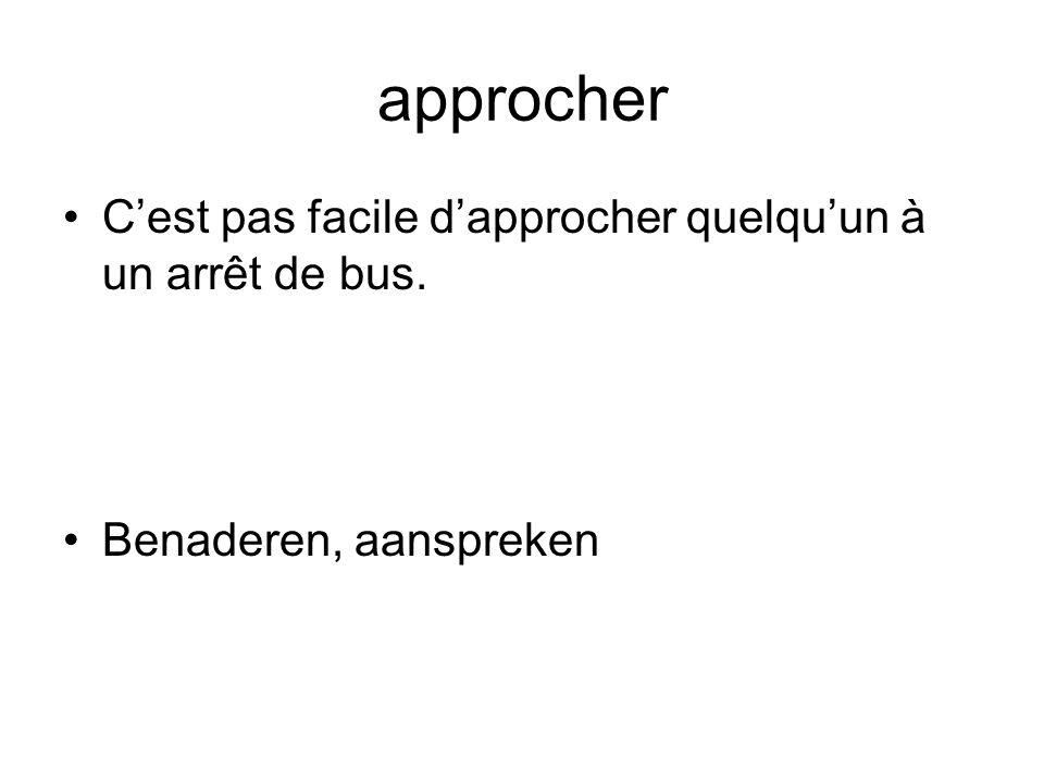 approcher C'est pas facile d'approcher quelqu'un à un arrêt de bus. Benaderen, aanspreken