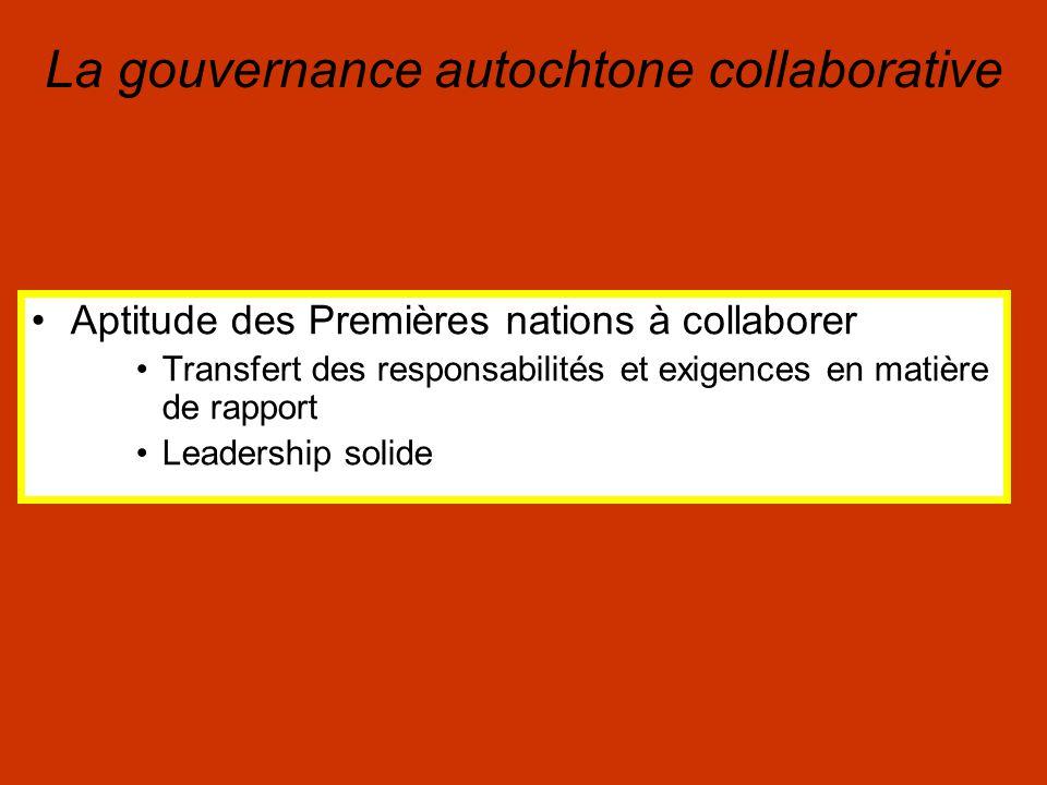 Aptitude des Premières nations à collaborer Transfert des responsabilités et exigences en matière de rapport Leadership solide La gouvernance autochtone collaborative