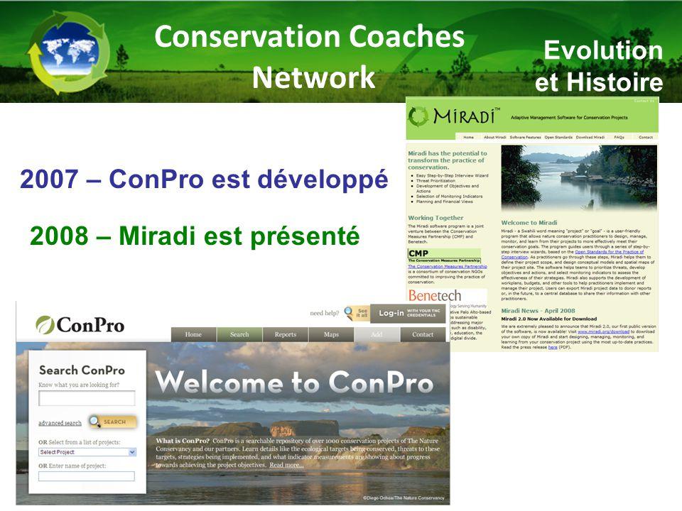 Evolution et Histoire 2007 – ConPro est développé 2008 – Miradi est présenté Conservation Coaches Network