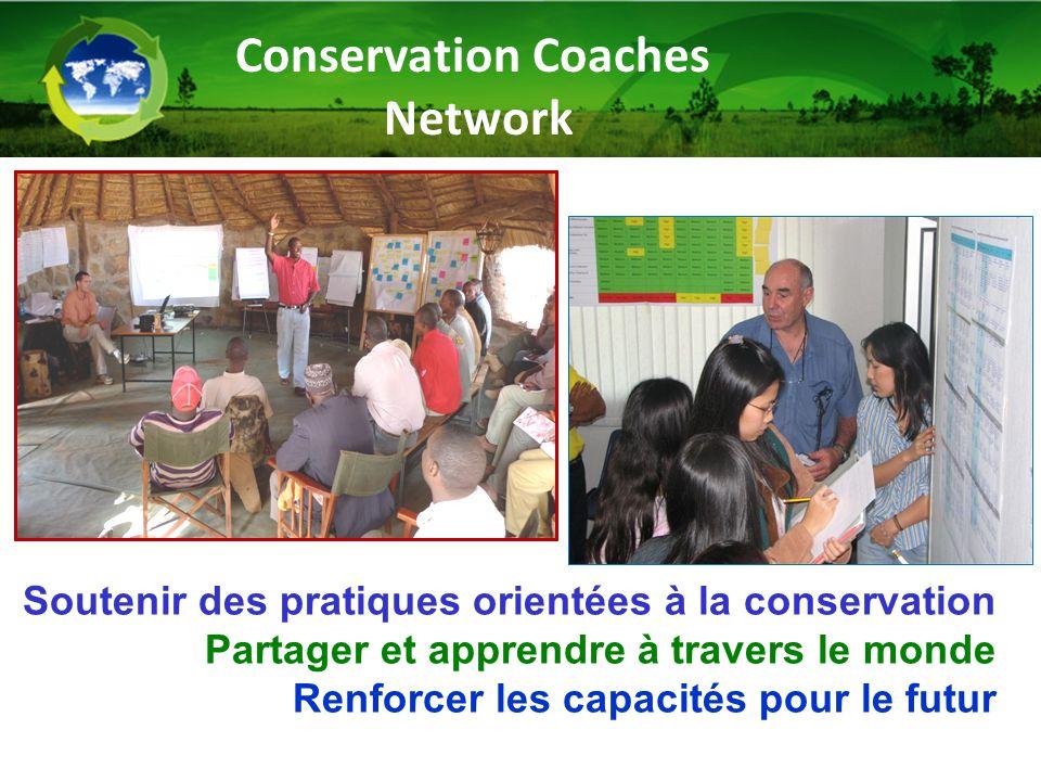 Soutenir des pratiques orientées à la conservation Partager et apprendre à travers le monde Renforcer les capacités pour le futur Conservation Coaches Network