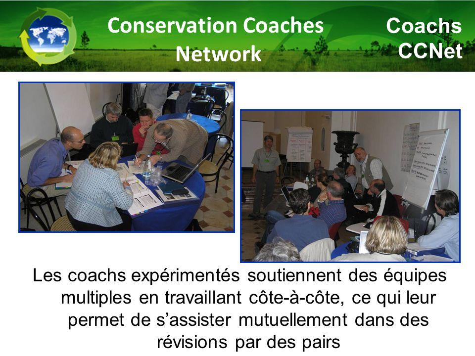Les coachs expérimentés soutiennent des équipes multiples en travaillant côte-à-côte, ce qui leur permet de s'assister mutuellement dans des révisions par des pairs Conservation Coaches Network Coachs CCNet