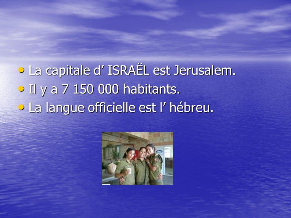 La capitale d' ISRAËL est Jerusalem. La capitale d' ISRAËL est Jerusalem. Il y a 7 150 000 habitants. Il y a 7 150 000 habitants. La langue officielle