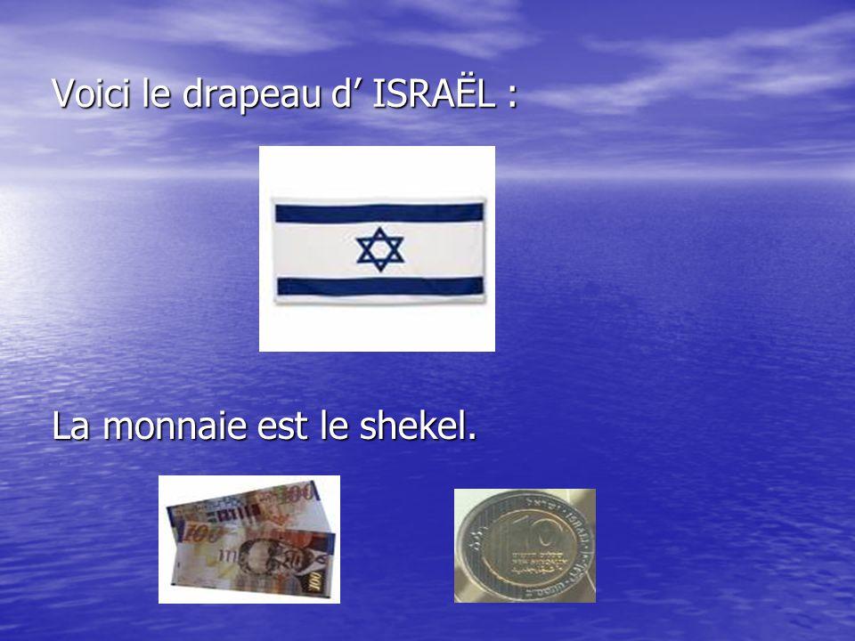Voici le drapeau d' ISRAËL : La monnaie est le shekel.
