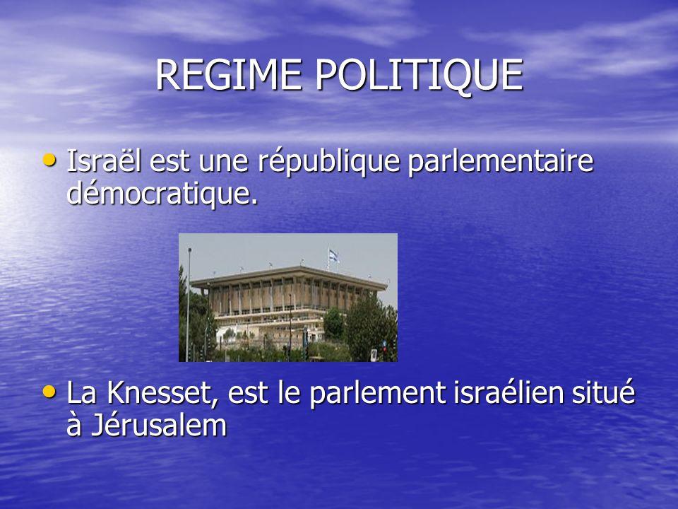 REGIME POLITIQUE Israël est une république parlementaire démocratique. Israël est une république parlementaire démocratique. La Knesset, est le parlem
