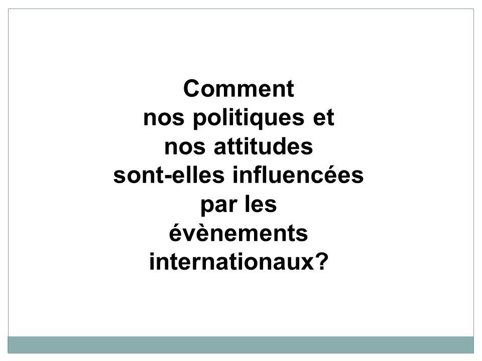 Comment nos politiques et nos attitudes sont-elles influencées par les évènements internationaux?