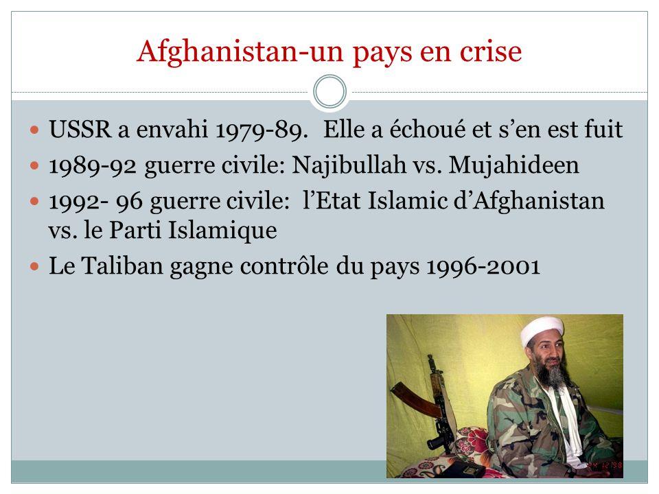 Afghanistan-un pays en crise USSR a envahi 1979-89.