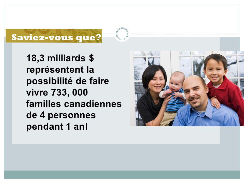 18,3 milliards $ représentent la possibilité de faire vivre 733, 000 familles canadiennes de 4 personnes pendant 1 an!