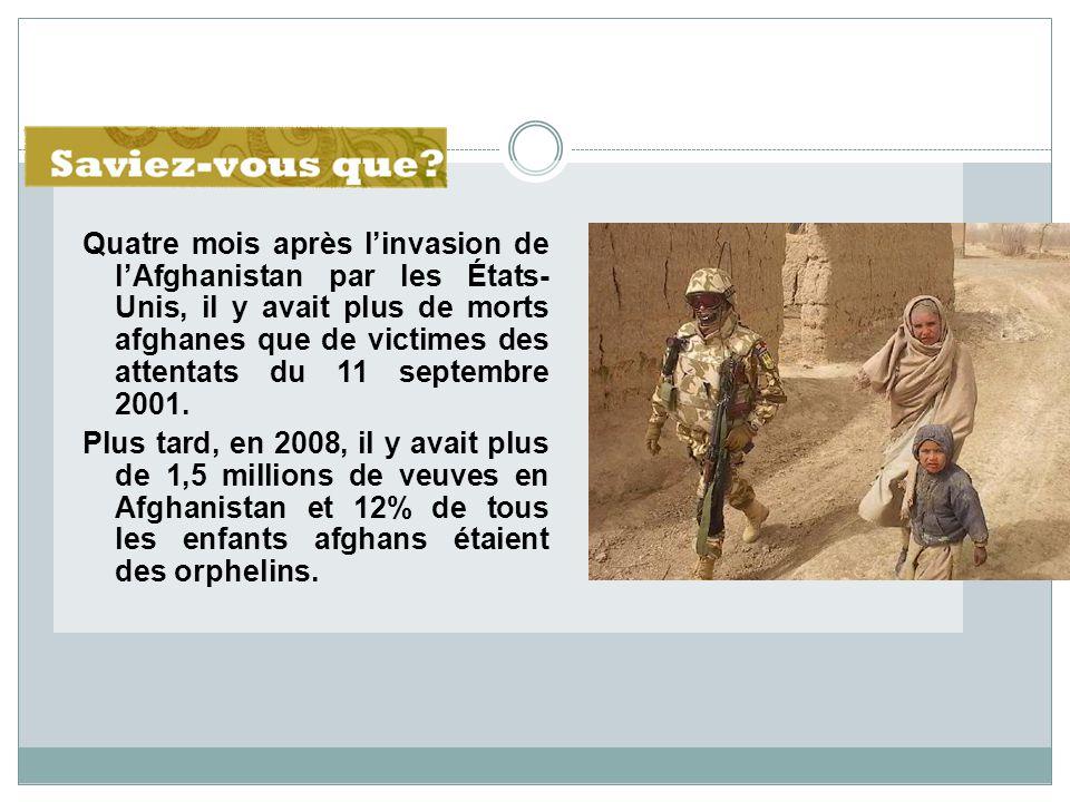 Quatre mois après l'invasion de l'Afghanistan par les États- Unis, il y avait plus de morts afghanes que de victimes des attentats du 11 septembre 2001.