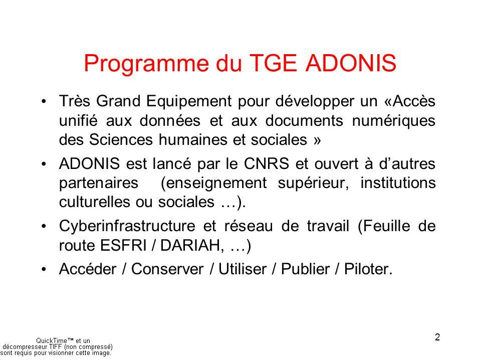 2 Programme du TGE ADONIS Très Grand Equipement pour développer un «Accès unifié aux données et aux documents numériques des Sciences humaines et sociales » ADONIS est lancé par le CNRS et ouvert à d'autres partenaires (enseignement supérieur, institutions culturelles ou sociales …).