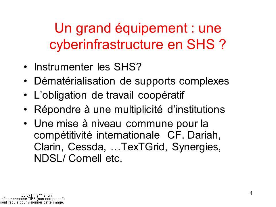 4 Un grand équipement : une cyberinfrastructure en SHS .