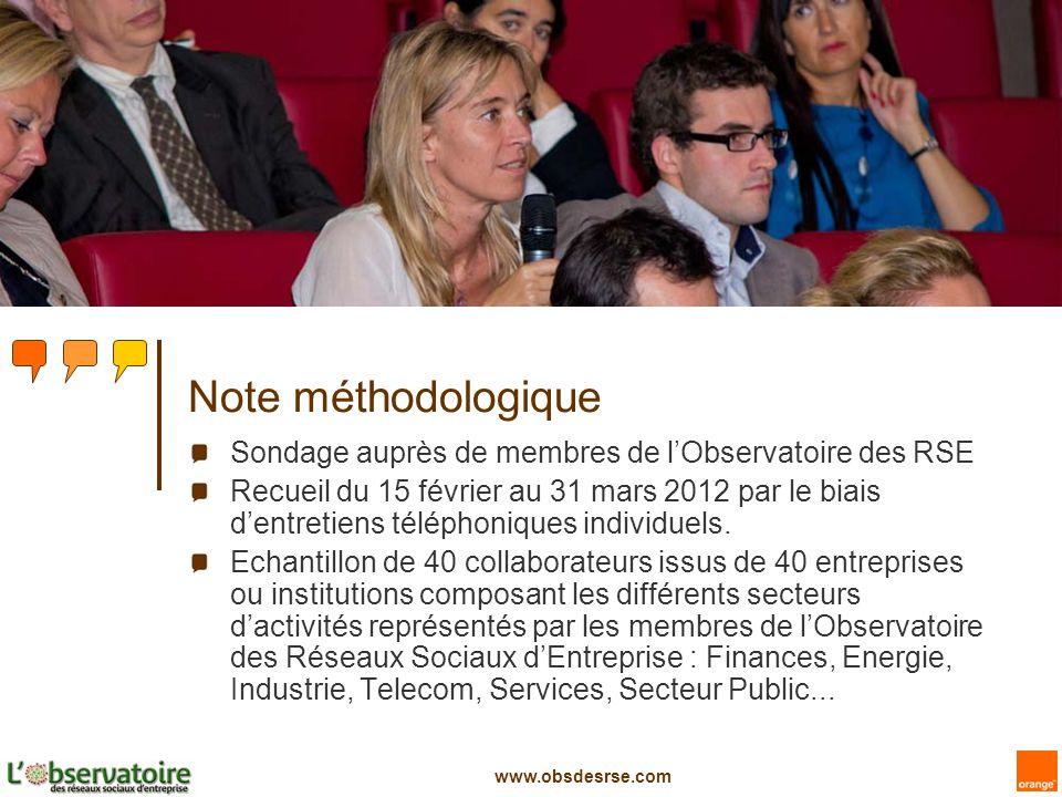 www.obsdesrse.com Note méthodologique Sondage auprès de membres de l'Observatoire des RSE Recueil du 15 février au 31 mars 2012 par le biais d'entretiens téléphoniques individuels.