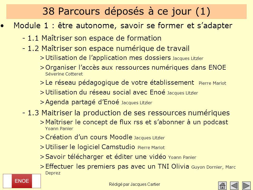 Rédigé par Jacques Cartier 38 Parcours déposés à ce jour (1) Module 1 : être autonome, savoir se former et s'adapter -1.1 Maîtriser son espace de form