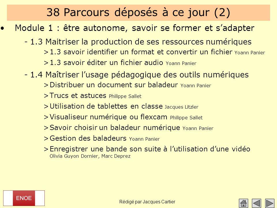 Rédigé par Jacques Cartier 38 Parcours déposés à ce jour (2) Module 1 : être autonome, savoir se former et s'adapter -1.3 Maitriser la production de s