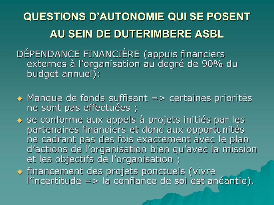 QUESTIONS D'AUTONOMIE QUI SE POSENT AU SEIN DE DUTERIMBERE ASBL DÉPENDANCE FINANCIÈRE (appuis financiers externes à l'organisation au degré de 90% du