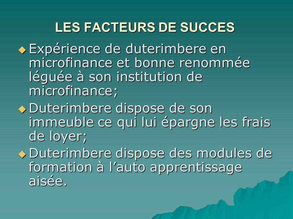 LES FACTEURS DE SUCCES LES FACTEURS DE SUCCES  Expérience de duterimbere en microfinance et bonne renommée léguée à son institution de microfinance;