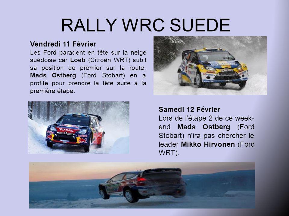 RALLY WRC SUEDE Vendredi 11 Février Les Ford paradent en tête sur la neige suédoise car Loeb (Citroën WRT) subit sa position de premier sur la route.