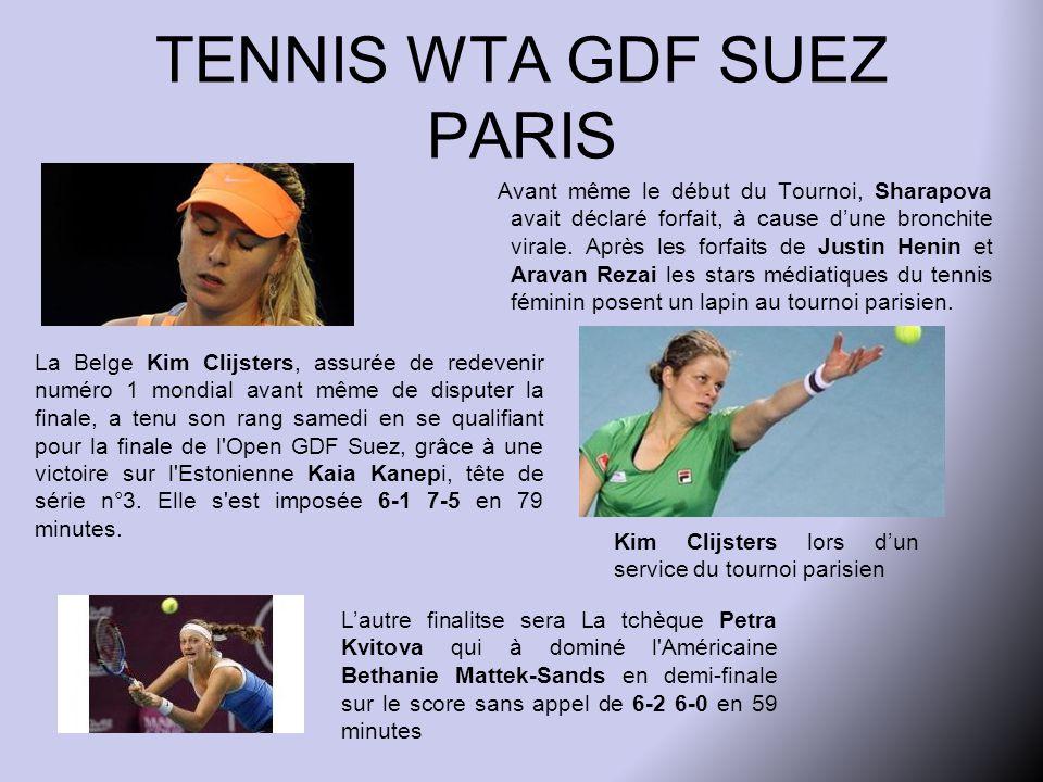 TENNIS WTA GDF SUEZ PARIS Avant même le début du Tournoi, Sharapova avait déclaré forfait, à cause d'une bronchite virale.