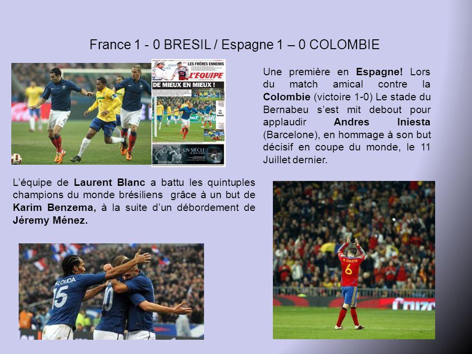 France 1 - 0 BRESIL / Espagne 1 – 0 COLOMBIE L'équipe de Laurent Blanc a battu les quintuples champions du monde brésiliens grâce à un but de Karim Benzema, à la suite d'un débordement de Jéremy Ménez.