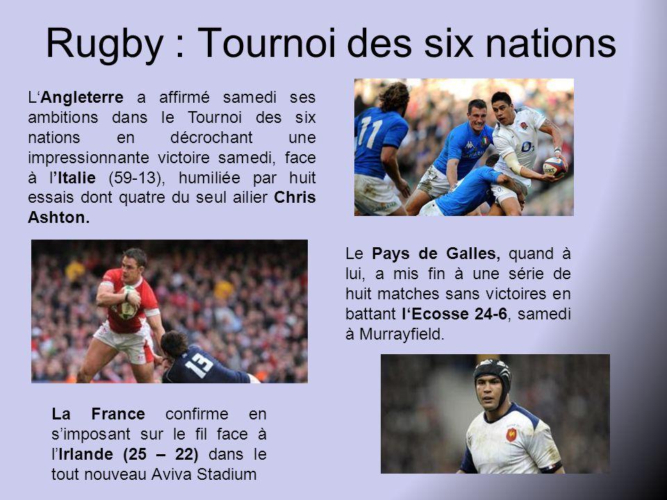 Rugby : Tournoi des six nations L'Angleterre a affirmé samedi ses ambitions dans le Tournoi des six nations en décrochant une impressionnante victoire samedi, face à l'Italie (59-13), humiliée par huit essais dont quatre du seul ailier Chris Ashton.