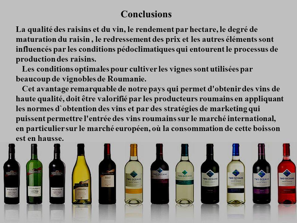 Conclusions La qualité des raisins et du vin, le rendement par hectare, le degré de maturation du raisin, le redressement des prix et les autres éléments sont influencés par les conditions pédoclimatiques qui entourent le processus de production des raisins.