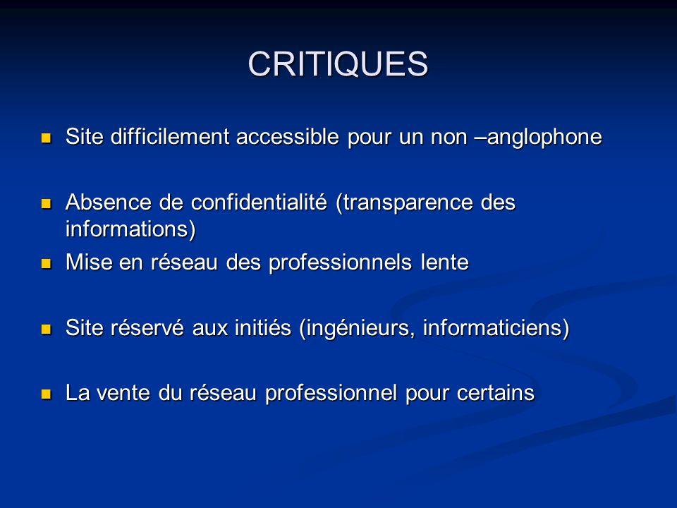 CRITIQUES Site difficilement accessible pour un non –anglophone Site difficilement accessible pour un non –anglophone Absence de confidentialité (tran