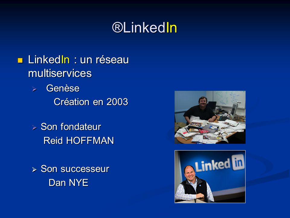 ®LinkedIn LinkedIn : un réseau multiservices LinkedIn : un réseau multiservices  Genèse Création en 2003 Création en 2003  Son fondateur Reid HOFFMAN Reid HOFFMAN  Son successeur Dan NYE Dan NYE